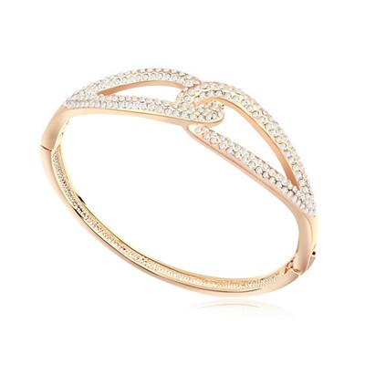 Adjustable white & Champagne gold CZ diamond decorated Double buckle design alloy Crystal Bracelets