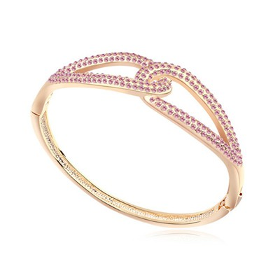 Bead light plum red & champagne gold CZ diamond decorated Double buckle design alloy Crystal Bracelets