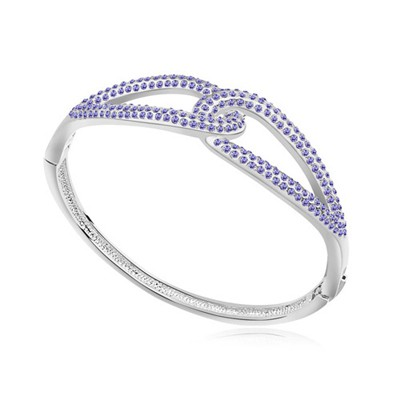 Newborn pinkish purple CZ diamond decorated Double buckle design alloy Crystal Bracelets