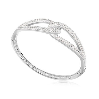 Shade white CZ diamond decorated Double buckle design alloy Crystal Bracelets