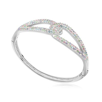 Piercing multicolor CZ diamond decorated Double buckle design alloy Crystal Bracelets