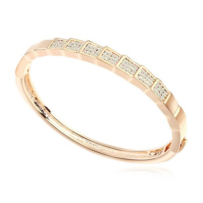 Homemade white & Champagne gold CZ diamond decorated rectangle design alloy Crystal Bracelets