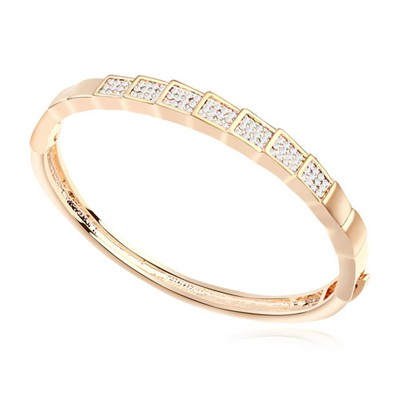 Expired white & Champagne gold CZ diamond decorated rectangle design alloy Crystal Bracelets