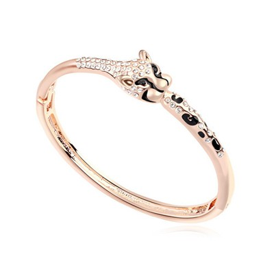 Latest white & rose gold leopard decorated simple  design alloy Crystal Bracelets