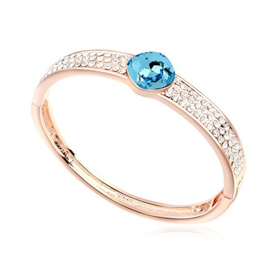Arrowhead navy blue & rose gold CZ diamond decorated round shape  design alloy Crystal Bracelets