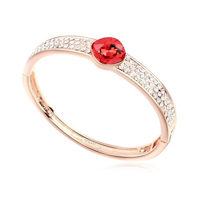 Engagement water lotus red & rose gold CZ diamond decorated round shape  design alloy Crystal Bracelets