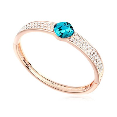 Charm blue & rose gold CZ diamond decorated round shape  design alloy Crystal Bracelets
