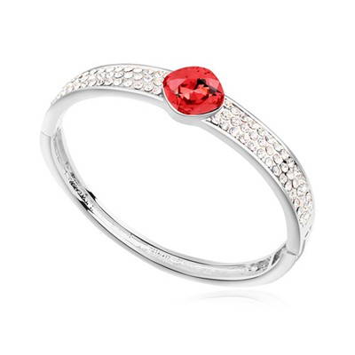 Kids water lotus red CZ diamond decorated round shape  design alloy Crystal Bracelets