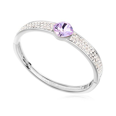 Estate purple CZ diamond decorated round shape  design alloy Crystal Bracelets