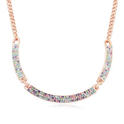 Couture multicolor & rose gold CZ diamond decorated simple design alloy Crystal Necklaces