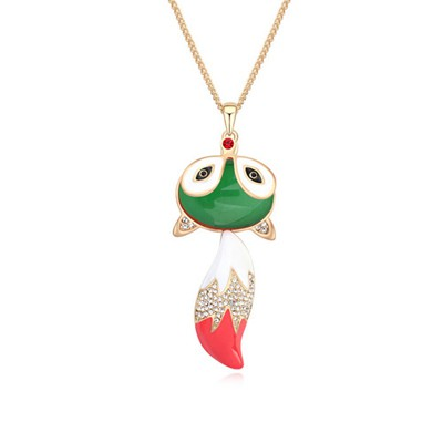 Monogramme green & Champagne gold CZ diamond decorated fox pendant design alloy Crystal Necklaces