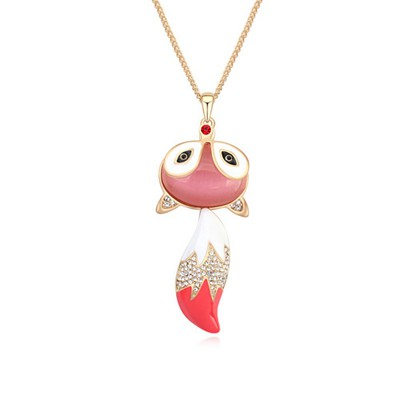 Sparking light pink & Champagne gold CZ diamond decorated fox pendant design alloy Crystal Necklaces
