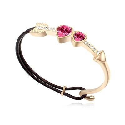 Velvet plum red & champaign gold CZ diamond decorated Cupid's arrow design alloy Crystal Bracelets