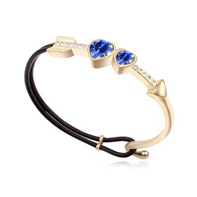Native blue & champaign gold CZ diamond decorated Cupid's arrow design alloy Crystal Bracelets