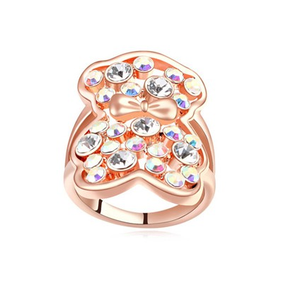 Colorful multicolor & rose gold CZ diamond decorated bear pattern design alloy Crystal Rings