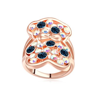 Montgomery dark blue & rose gold CZ diamond decorated bear pattern design alloy Crystal Rings