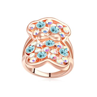 Masonic navy blue & rose gold CZ diamond decorated bear pattern design alloy Crystal Rings