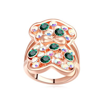 Roller green & rose gold CZ diamond decorated bear pattern design alloy Crystal Rings