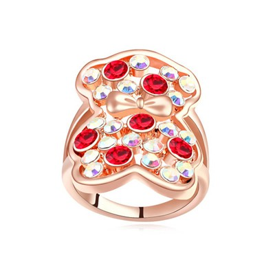 Hooters light red & rose gold CZ diamond decorated bear pattern design alloy Crystal Rings