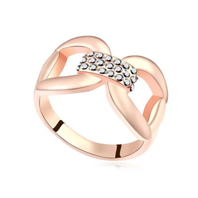 Inspiratio slivery & rose gold CZ diamond decorated bowknot design alloy Crystal Rings