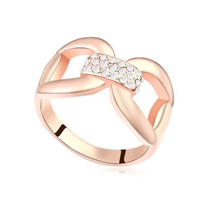 Top Rated white & rose gold CZ diamond decorated bowknot design alloy Crystal Rings