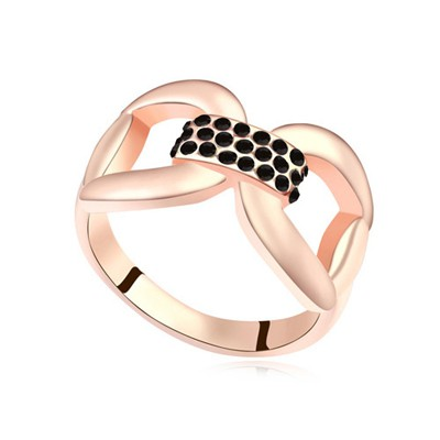 Masculine black & rose gold CZ diamond decorated bowknot design alloy Crystal Rings