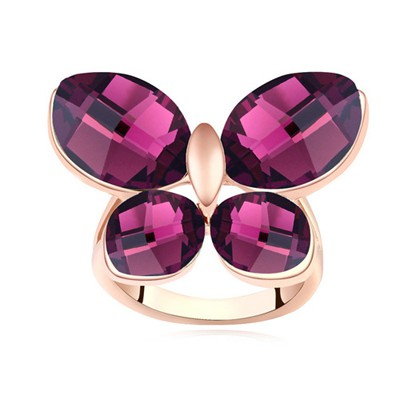 Punk purple & rose gold CZ diamond decorated butterfly shape design alloy Crystal Rings