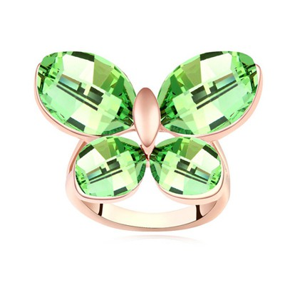 Layered olive & rose gold CZ diamond decorated butterfly shape design alloy Crystal Rings