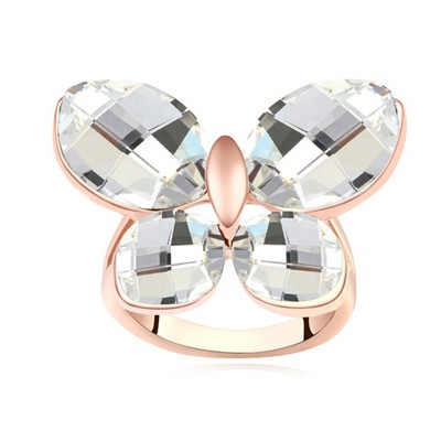 Etcetera white & rose gold CZ diamond decorated butterfly shape design alloy Crystal Rings
