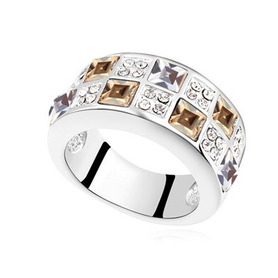 Lace gold color CZ diamond decorated Interval design alloy Crystal Rings