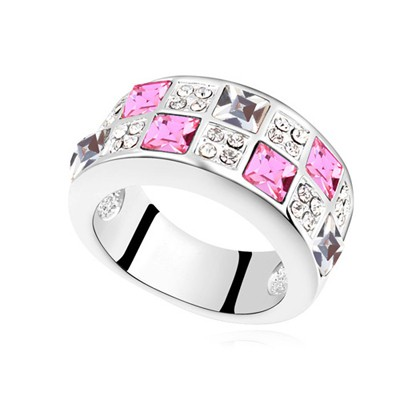 Winter plum red CZ diamond decorated Interval design alloy Crystal Rings