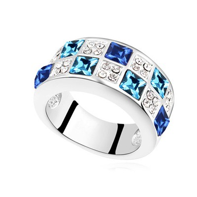 Bespoke navy blue CZ diamond decorated Interval design alloy Crystal Rings