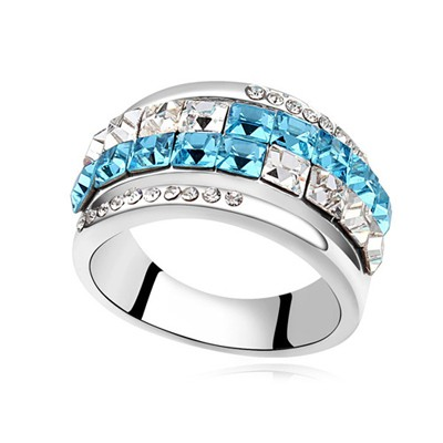 Stretch navy blue CZ diamond decorated Double row design alloy Crystal Rings