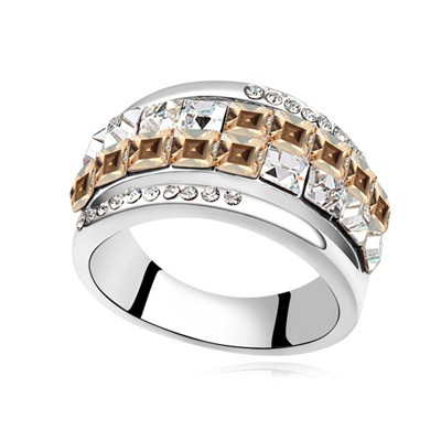 Liquid gold color CZ diamond decorated Double row design alloy Crystal Rings