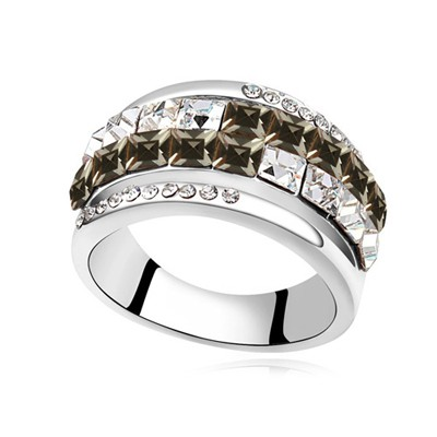 Guardian black CZ diamond decorated Double row design alloy Crystal Rings