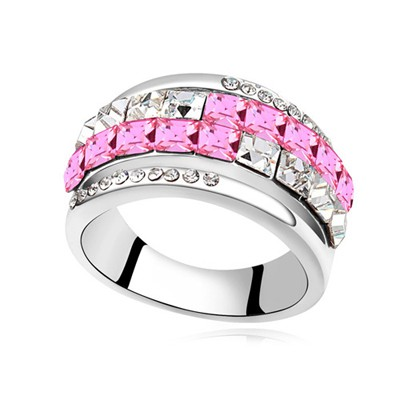 Budget plum red CZ diamond decorated Double row design alloy Crystal Rings