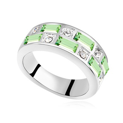 Magic olive green CZ diamond decorated Interval design alloy Crystal Rings