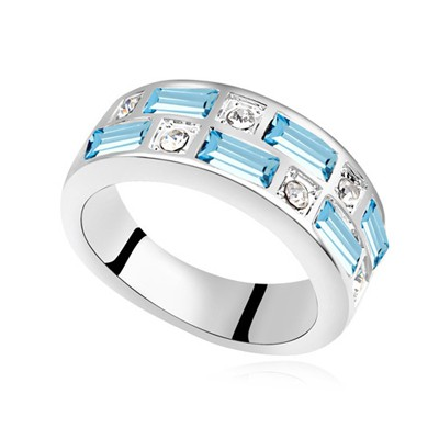 Apparel navy blue CZ diamond decorated Interval design alloy Crystal Rings