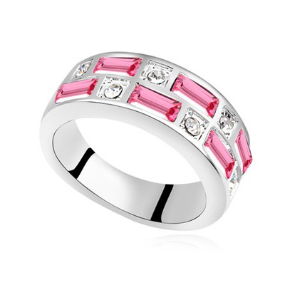 Stronglite plum red CZ diamond decorated Interval design alloy Crystal Rings