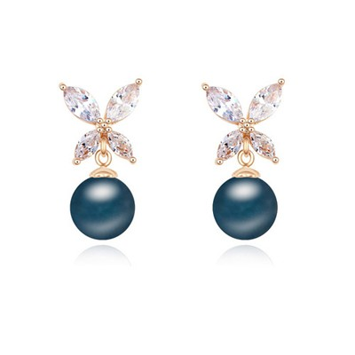 Dickie dark blue & Champagne gold pearl decorated butterfly design zircon Crystal Earrings