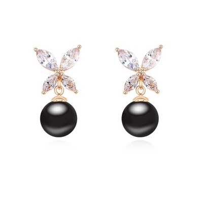 Kinetic black & Champagne gold pearl decorated butterfly design zircon Crystal Earrings