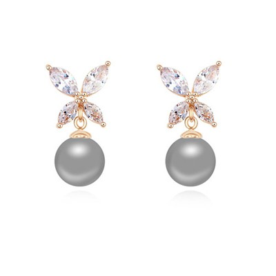 Athletic dark gray & Champagne gold pearl decorated butterfly design zircon Crystal Earrings