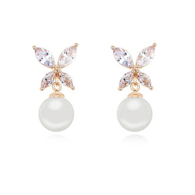 Plain white & champaign gold pearl decorated butterfly design zircon Crystal Earrings