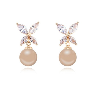 Glueless bronze & Champagne gold pearl decorated butterfly design zircon Crystal Earrings