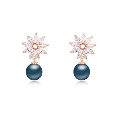 Chiropract dark blue & Champagne gold pearl decorated flower design zircon Crystal Earrings