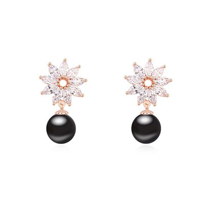 Rosary black & Champagne gold pearl decorated flower design zircon Crystal Earrings