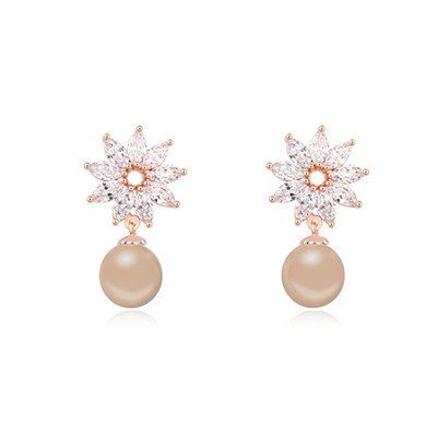 Current bronze & Champagne gold pearl decorated flower design zircon Crystal Earrings