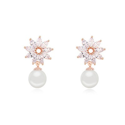 Political white & champaign gold pearl decorated flower design zircon Crystal Earrings