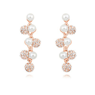 Madewell white & rose gold CZ diamond decorated pearl design alloy Crystal Earrings