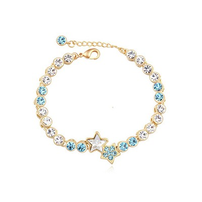Golf navy blue & 18K gold star decorated simple design alloy Crystal Bracelets